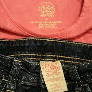 Faded Glory Matching Sets - Outfit Pink Tank + Denim Short